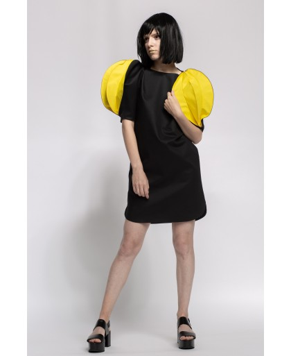 BLACK AND YELLOW CORA DRESS
