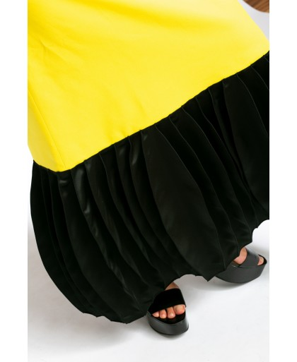 ZORA YELLOW AND BLACK LONG DRESS
