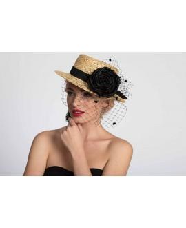 STRAW HAT WITH BLACK FLOWER