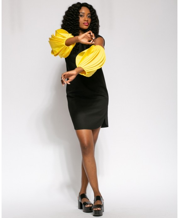 BLACK AND YELLOW LANA DRESS